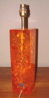 Delightful Above: Orange Rectangular Shattaline Lamp Base   Note Gold Paper Shattaline  Label Still Attached. Probably The Commonest Shattline Product On The  Secondhand ...